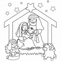 Nativity colouring image - use as a christmas ornament with mini iceblock sticks for stable and cotton ball on sheep.