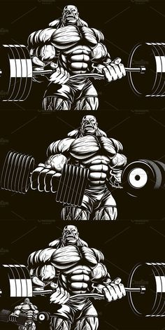 Vector illustration, bodybuilder doing exercise with barbell for biceps. Vector graphics Install any size without loss of quality. Arte Do Hulk, Bodybuilding Logo, Graffiti, Strongest Animal, Hulk Art, Mundo Comic, Fitness Tattoos, Fantasy Warrior, Barbell