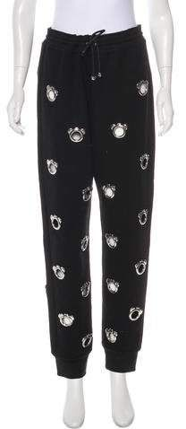 Black and silver Nicopanda embellished high-rise sweatpants with open silver-tone embellishments throughout, dual pockets at back and elasticized waistband featuring drawstring. Athletic Pants, Lounge Wear, Pajama Pants, Sweatpants, Clothes, Black, Women, Fashion, Outfits