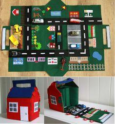 Felt Car Play Mat House