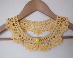 Lemon Cake Lace collar necklace in bright yellow and creamy