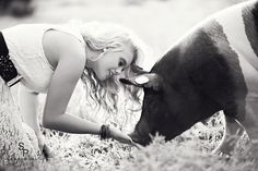 Graceful Country Girl with 4-H pig