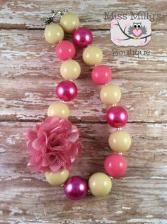 Dusty Rose Girls Chunky Gumball Necklace by MissMillysBoutique, $18.00