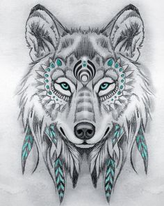 Tattoo Sketches 743094007251367329 - Tribal wolf drawing pencils, model black and white drawing with touches of blue, symbol amerindien Source by oxxelos Tattoo Sketches, Drawing Sketches, Tattoo Drawings, Art Drawings, Wolf Drawings, Drawing Drawing, Sketch Art, Tattoo Art, Drawing Ideas