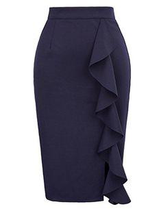 skirt outfits – Women's Clothing, Skirts, Women's Ruffle Bodycon Knee Length Midi Pencil Skirt -… Pencil Skirt Outfits For Work, Pencil Skirt Casual, Blue Pencil Skirts, High Waisted Pencil Skirt, Pencil Dress, Pencil Skirt Tutorial, Grace Karin, Look Fashion, Fashion Outfits