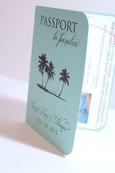 Unique and Customizable Passport Beach Tropical Destination Wedding - Save The Date - Deposit Listing