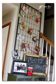 Holiday Card Holder - just using an old Crib Spring - - click the link to see what it looks like filled with cards...