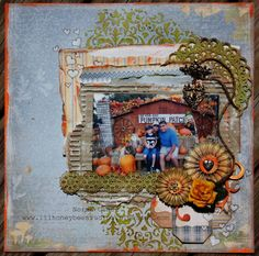 Pumpkin Patch by Designer Norma Gomez for the September Mixed Media + Sketch Challenge. Norma created this stunning page with sponsored items from Maja Design and Scrapiniec Die-Cut Chipboard.