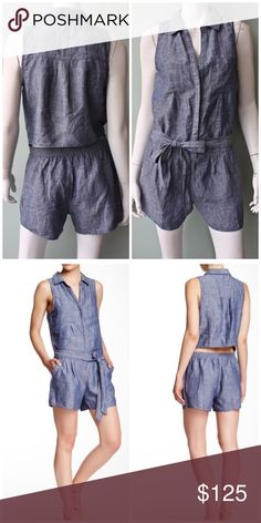 "Joie Sleeveless Linen Romper Lovely romper, style: Toinette. Linen blue. Spread collar. Partial front button closure. Chest patch pockets. Cutout back with tie waist. Approx. 3"" inseam, 34"" full length. Offers welcome through offer tab. No trades. 10606161291 Joie Dresses"