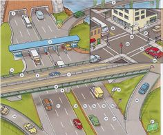 Highways, streets, roads and road markings vocabulary. English lesson in PDF