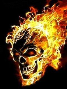 Flaming Fire Skull..