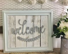 FinisHED Reclaimed Wood White and Teal Welcome Sign | Typography Sign | Wood Cutout Sign | Start at Home Decor