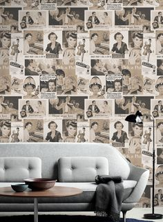 Covered in a collage of adverts, this Retro Ads Sepia wallpaper from Mind the Gap will bring a playful and quirky touch to a living room. Unique Wallpaper, Of Wallpaper, Designer Wallpaper, Pattern Wallpaper, Amazing Wallpaper, Mid Century Modern Decor, Mid Century Design, Mind The Gap, Eclectic Design