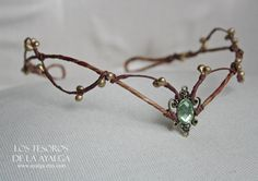 handmade woodland tiara , can be adjust on the back with a lace * made to order