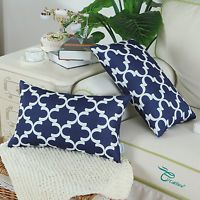 Set of 2 Navy Cushion Cover Bloster Case Quatrefoil Accent Geometric Car for sale online Throw Pillow Cases, Decorative Throw Pillows, Pillow Covers, Cotton Linen, Printed Cotton, Moroccan Cushions, For You Blue, Quatrefoil, Accent Pillows
