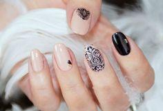 Бежево-черный дизайн ногтей, Бежевый маникюр с черным узором, Вечерние ногти, Вечерний дизайн ногтей, Двухцветный дизайн ногтей, Дизайн коротких ногтей 2016, Дизайн ногтей с рисунком, Дизайн ногтей с узором