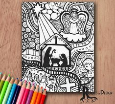 Instant Download Printable Christmas Zentangle Inspired Nativity Scene Coloring Page Or Print