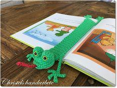 Christels handarbete: Bokmärke groda gratis mönster, free pattern bookmark frog