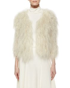 Fawn Lamb Fur Jacket, Size: MEDIUM, Ivory - Alice   Olivia