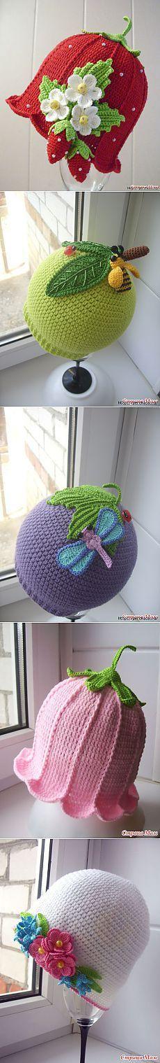 Чудесные шапули для девочек крючком