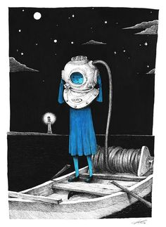 Blue girl series by Sungwon, via Behance