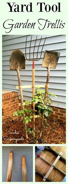 DIY Upcycled Repurposed Vintage Garden Yard Farm Tools into a Trellis by Sadie…