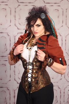 Copper Paisley Aurora Corset and Rust Orange Cropped Steampunk Jacket by Damsel in this Dress