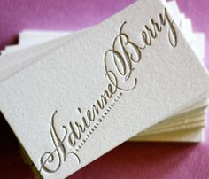 Custom Calligraphy Business Cards by dellacarta on Etsy. I ordered these and LOVE them! She did a great job!