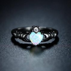 25%OFF.. Black Opal Heart Claddagh Ring Holiday Sales Event!!