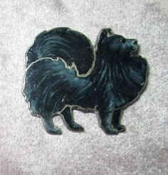 Sterling Silver and Black Enamel Chow Dog Pin