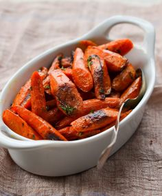 Roasted Carrots with Thyme - Once Upon a Chef Roasted Veggies Recipe, Roasted Vegetable Recipes, Roasted Carrots, Veggie Recipes, Vegetarian Recipes, Roasted Vegetables, Stove Top Steak, Seder Meal, Herb Stuffing