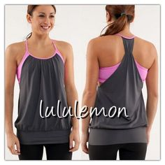 LULULEMON NO LIMIT TANK IN GREY AND PINK Great Lululemon tank for your physical activity... Nice bra support inside with grey cover... Tag size 4 and will fit snug and this size is not for a large bust... Gently used in good condition... If any questions or measurements lmk  lululemon athletica Tops Tank Tops