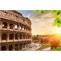 Colosseum at Sunset in Rome, Italy Photography by Eazl, Size: 18 x 12, Orange