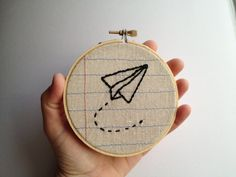 Paper Airplane- Four Inch Embroidery Hoop Wall Art