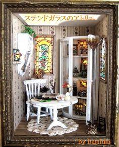 ♡ ♡ Trabajo Vidrieras otra imagen de casa de muñecas en miniatura