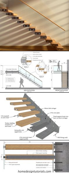 Learn how to design and build cantilevered stairs by understanding the design principles and physics behind the construction. Manufacturing files available for purchase #cantilevered #stairs #floating #staircase #structural #details Staircase Design Modern, Home Stairs Design, Modern Stairs, Interior Stairs, Home Room Design, House Design, Stairs Architecture, Architecture Details, Cantilevered Stairs Detail