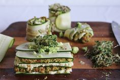Raw Lasagna with Cashew Cheese and Sun Dried Tomato and Broccoli Pesto