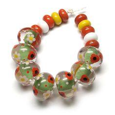 'Meadow' ~ £28.00 #lampworkbeads #poppies #daisies #beadsbylaura
