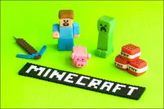 I crafted mini Steve, Creeper, piggie, and TNT out of homemade fondant, yum!  Minecraft sign and pick ax are perler beads.  Order as cake toppers for your next Minecraft-fan birthday cake at graybarnbaking.com!