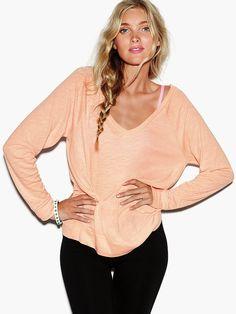 Long Sleeve V-Neck Raglan Tee - Victoria's Secret PINK - Victoria's Secret