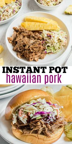 Hawaiian Pulled Pork with a sticky pineapple glaze is quick and easy when you use the Instant Pot! Served in a bowl or on toasted buns, this shredded pork is an explosion of taste. Instant Pot Pressure Cooker, Pressure Cooker Recipes, Pork Recipes, Cooking Recipes, Sweets Recipes, Hawaiian Pulled Pork, Pineapple Glaze, Crock Pot Food, Sammy