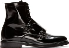 Carven Black Leather Monk Strap Boots
