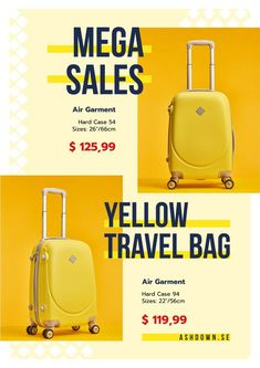 Travel Bags Sale Ad with Suitcases in Yellow — Create a Design Yellow Online, Online Posters, Sale Poster, Suitcases, Travel Posters, Bag Sale, Flyer Design, Travel Bags, Ecommerce