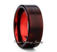 Red Tungsten Wedding Band,Gunmetal Red Tungsten Ring,Anniversary Band,Red Tungsten Ring,Tungsten Carbide Ring,Comfort Fit,Engagement Band