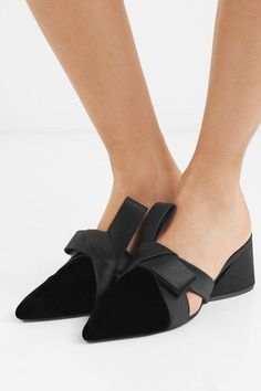 Heel measures approximately 65mm/ 2.5 inches Black velvet and satin  Slip on  Imported