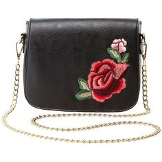 Charlotte Russe Floral Patch Crossbody Bag ($15) ❤ liked on Polyvore featuring bags, handbags, shoulder bags, black, charlotte russe, faux leather crossbody purse, floral crossbody, flap crossbody and vegan purses