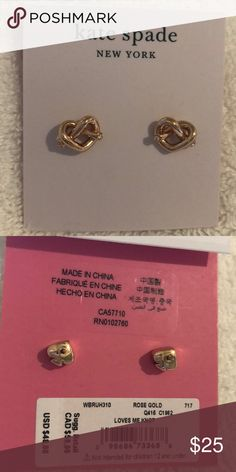 "59633125c Kate Spade Love Me Knot Stud Earrings NWT Kate Spade love me knot earrings  in rose gold. 1/2"" width. Square post back. Reg $48 NWT kate spade Jewelry  ..."