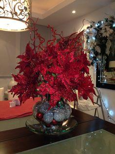 arreglo de flores rojo- navidad
