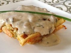 Chive N Cheddar Buttermilk Waffles with a Bacon and Scallion White Gravy from Food 52