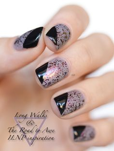I've done layered partial cover polish before, but I like the idea of 2 different finishes - glitter and solid
